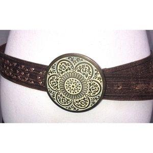 Brown Leather Laser Cut Belt Round Buckle Boho